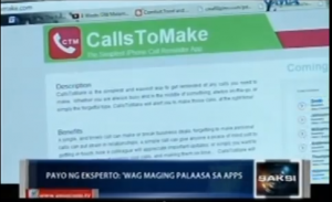 "The Calls To Make app was featured on GMA-7 News' ""Saksi"""