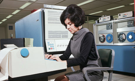 Computer Operator Using IBM 360 Computer