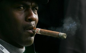 Former NBA legend Michael Jordan smokes