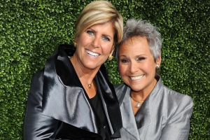 Broke: Finance guru Suze Orman says she learned her life lessons after losing everything she had while working as a waitress. She's seen here with girlfriend Kathy Travis in 2011 [Getty Images]