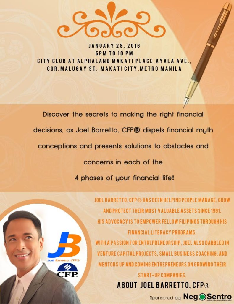 joel barretto seminar launch invite 2016
