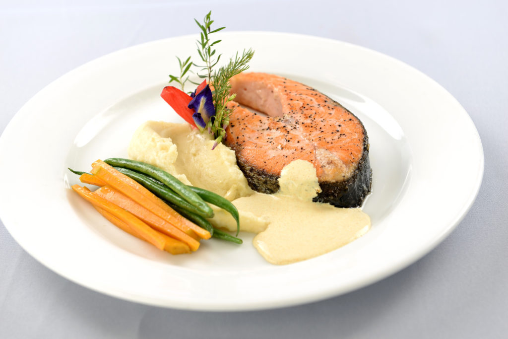 Cravings- Pan-Roasted Salmon, Jasmine-scented Orange and   Rosemary Beurre Blanc, Sautéed Haricot Vert and Squash, and Truffled   Potato Mash
