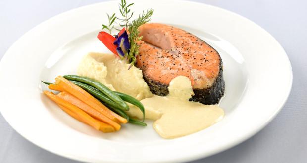 Cravings- Pan-Roasted Salmon, Jasmine-scented Orange and   Rosemary Beurre Blanc, Sautéed Haricot Vert and Squash, and Truffled   Potato Mash