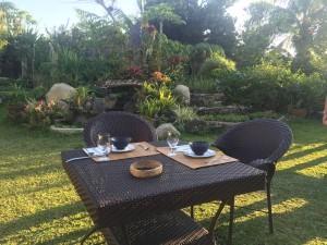 Romantic breakfast at the garden