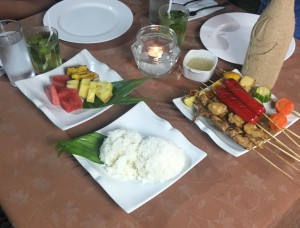 BBQ diner with Rice, fresh fruit Platter and Lime Basil Cocktail
