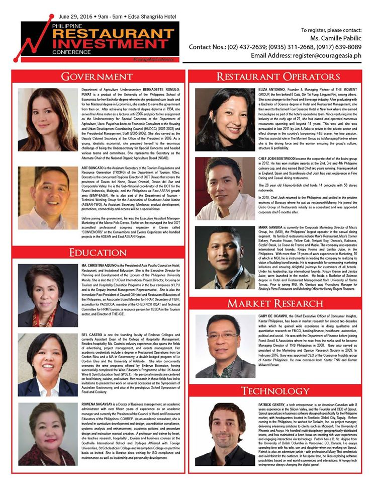 philippine-restaurant-investment-conference, tips-for-restaurant-owners, courage-asia, food-tourism-in-the-philippines, philippine-restaurant-investment-conference, state-of-the-restaurant-industry, inspring-words-for-restaupreneurs, how-to-manage-a-restaurant, chef-raoul-roberto-goco, chef-chele-gonzales, raymund-magdaluyo, meredith-ngo, rowena-manhit-tomeldan