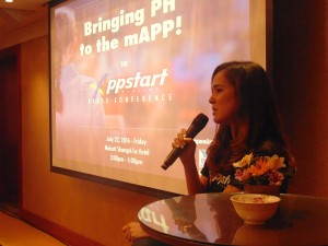 Ms. Ann Jacobe discusses the trainings and workshops of Appstart Academy during the Press Conference last Friday.