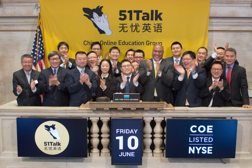 51Talk Founder and CEO, MR. JACK HUANG (5th, left) and 51Talk Co-Founder and Philippines Country Manager, MS. SUE TING (4th, left) during the official public listing at the NEW YORK STOCK EXCHANGE recently.
