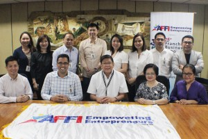 AFFI Board of Directors in a courtesy meeting with BIR Commissioner Caesar Dulay. (From Standing L-R: Anne Francisco, Ferino's Bibingka, Josephine See, Peanut World, Sonny Francisco, Ferino's Bibingka, John & Jelyn Chung, Acquasuisse, Jean & Atty. Agaton Uvero, Nail It! , Mon Abrea CSR Philippines, Sitting L-R: Ricardo Cuna, Fiorgelato, Jerry Ilao Ink all-you- can, Teresita Ngan Tian Lots'a Pizza, Teresa Laurel, Gotoking)