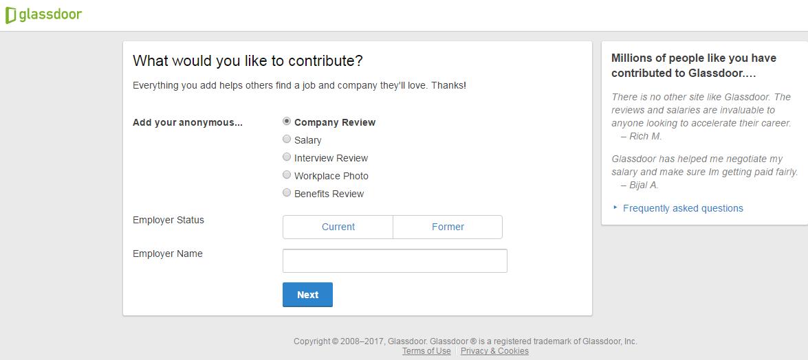 Step Three: Rate A Company