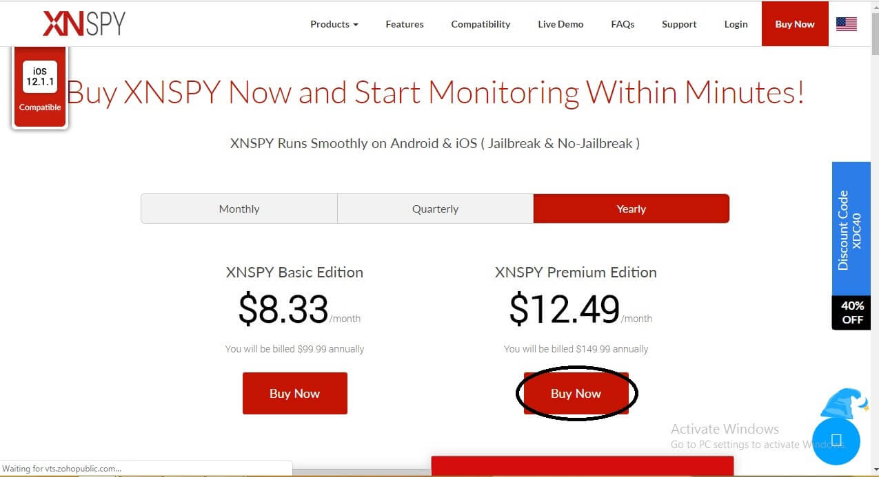 Buy Now page showing the packages offered by Xnspy