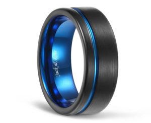 Blue grooved flat edge wedding band