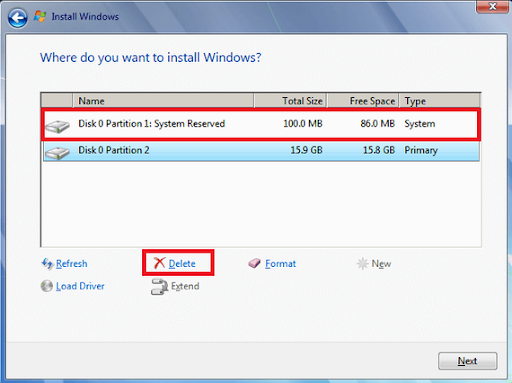 Windows Delete all the partitions on disk 0.