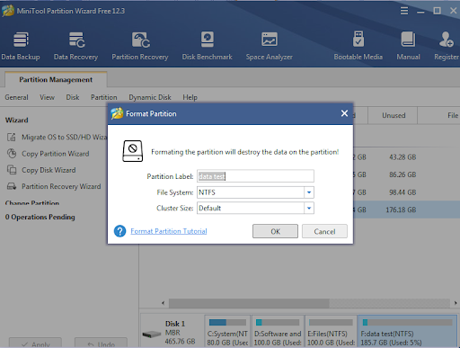 Windows Format Partition Using MiniTool partition wizard